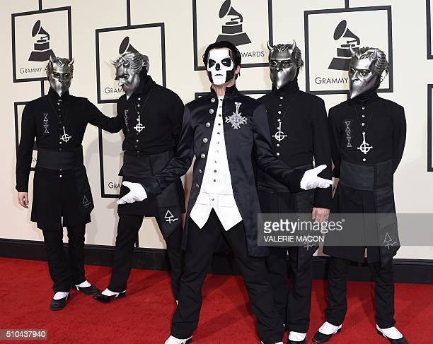 The members of Goast arrive on the red carpet during the 58th Annual Grammy Music Awards in Los Angeles February 15 2016 AFP PHOTO/ Valerie MACON /...