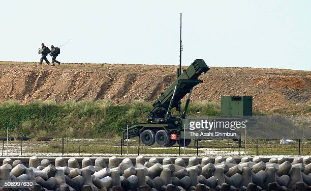 The members of Japan Selfdefense Force prepare the Patriot Advanced Capability3 missile for interception right after North Korea's rocket launch on...