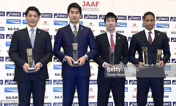 The members of Japan's Rio Olympic silver medalwinning men's 4x100meter relay team Ryota Yamagata Shota Iizuka Yoshihide Kiryu and Asuka Cambridge...