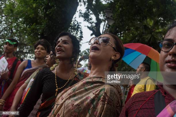 The members of Lgbt community are protesting hard on the road against the rule 377 near ChandannagarKolkataIndia712017