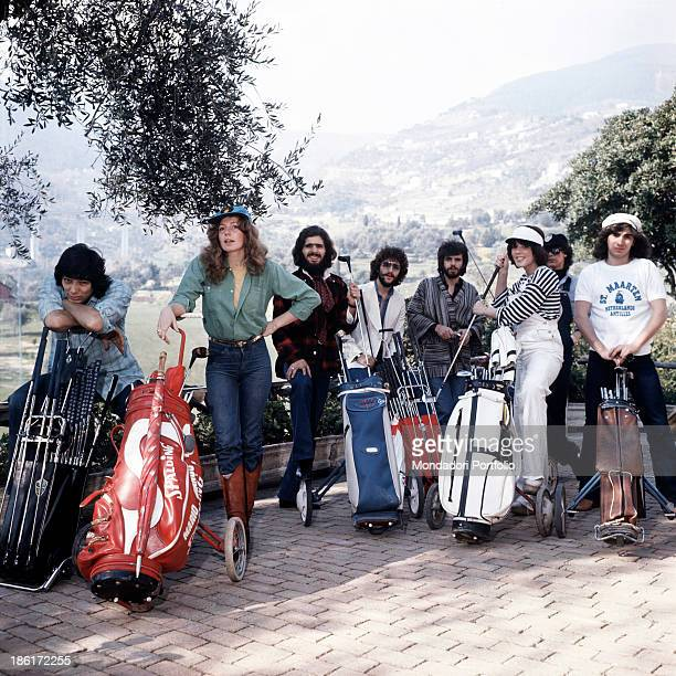 The members of the band Daniel Sentacruz Ensemble with golf bags and clubs The band is formed by Italian musicians Ciro Dammicco Gianni Minuti...