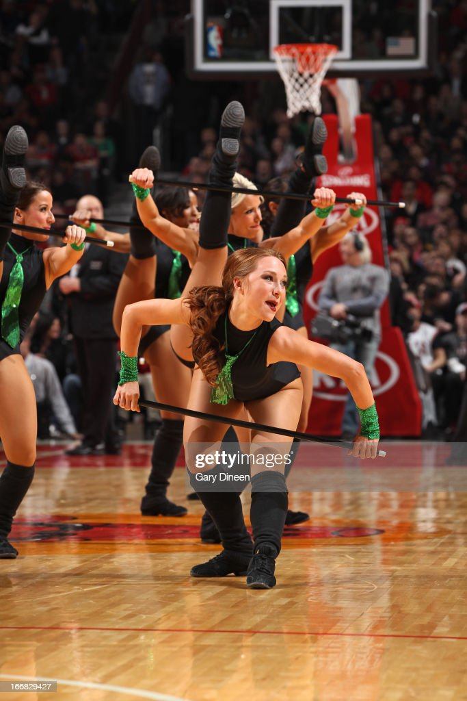The members of the Chicago Bulls dance team perform during the game against the Denver Nuggets on March 18, 2013 at the United Center in Chicago, Illinois.