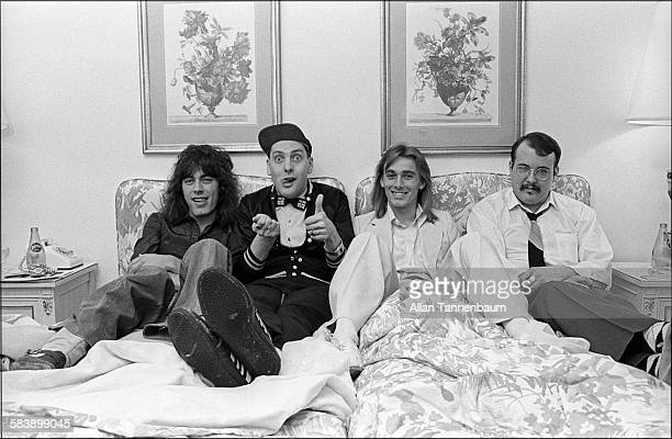 The members of the group Cheap Trick Tom Petersson Rick Nielsen Robin Zander and Bun E Carlos in their Park Lane hotel room after an interview New...