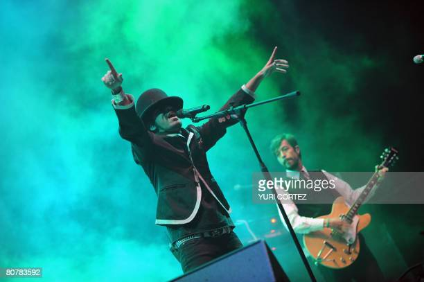 The members of the Mexican group Cafe Tacuba perform during a concert in the framework of the Imperial Festival at the La Guacima race in Alajuela...