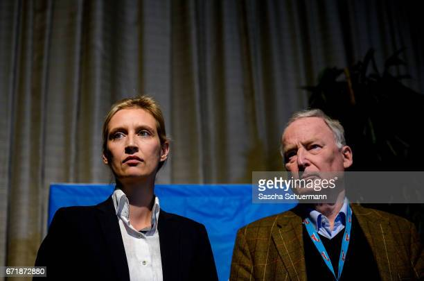 The members of the national directorate of the AfD party Alice Weidel and Alexander Gauland on stage at a press conference after being elected as the...