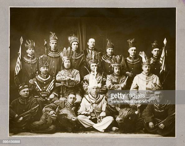 The members of the Order of the Red Man pose together in full regalia Little Falls New York circa 1900