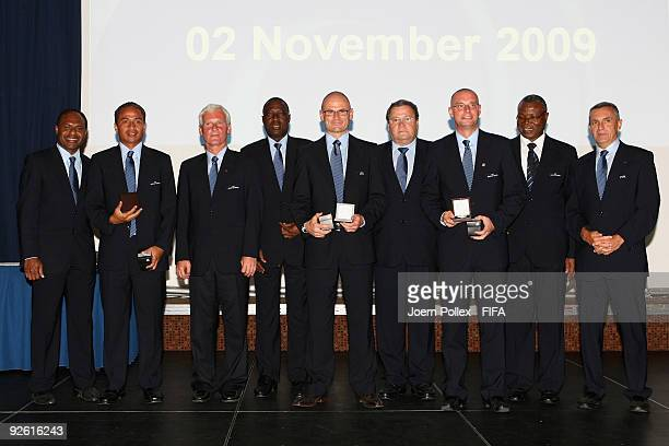 The Members of the Referees Commitee Michel Listkiewicz Harry Attison Amadou Diakite Carlos Alarcon and Badara Sene and the Fifa Commitee Member Jose...