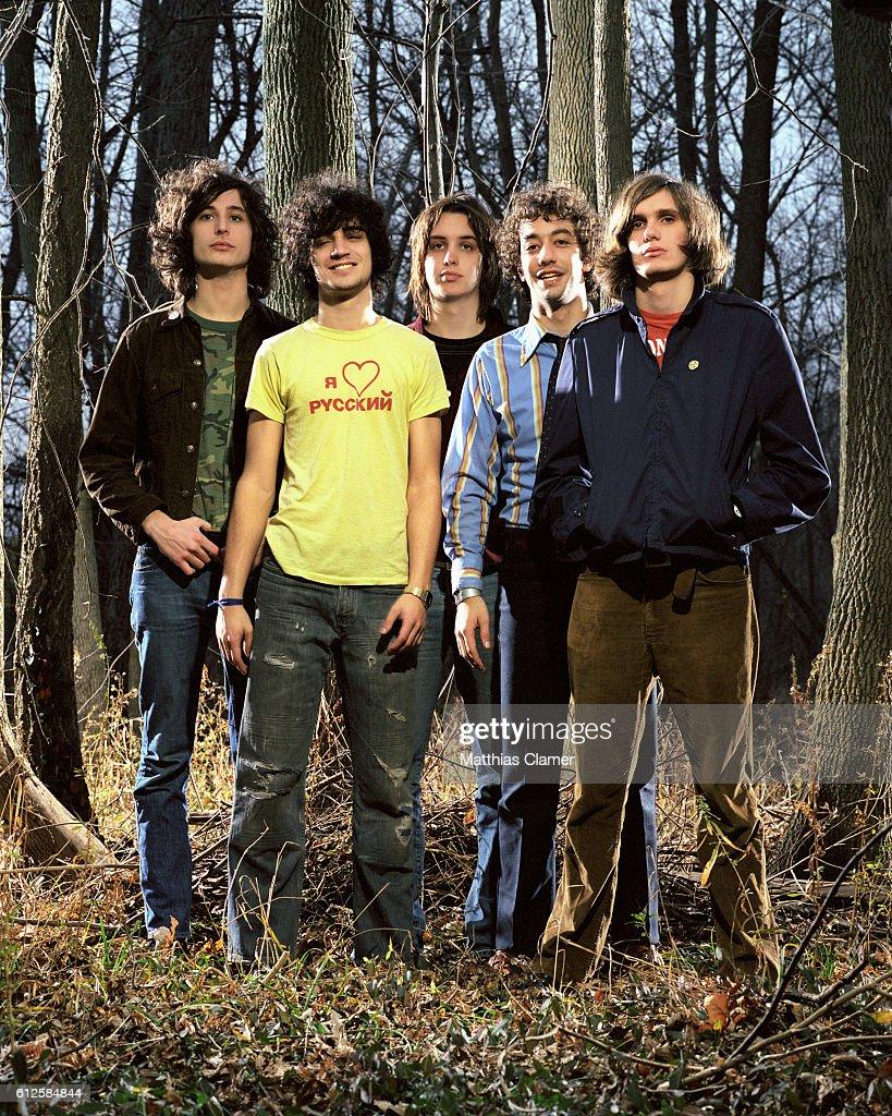 The members of the Strokes are, L-R, Nick Valensi, Fabrizio Moretti, Julian Casablancas, Albert Hammond, Jr., and Nikolai Fraiture.