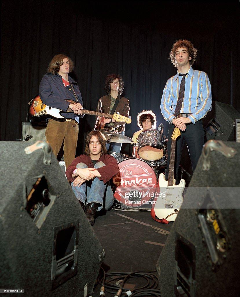 The members of the Strokes are, L-R, Nikolai Fraiture, Julian Casablancas, Nick Valensi, Fabrizio Moretti, and Albert Hammond, Jr.
