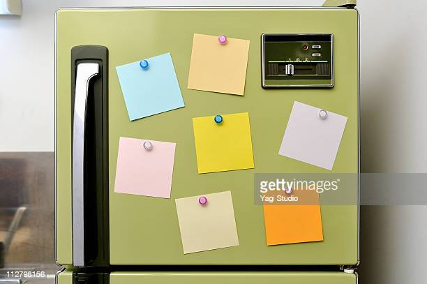 The memo fastened to the refrigerator with the mag