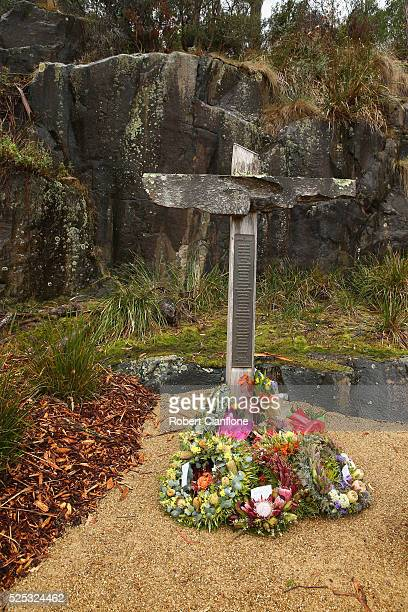 The memorial cross bearing the names of the 35 victims is seen during the 20th anniversary commemoration service of the Port Arthur massacre on April...