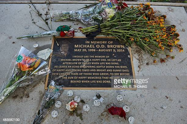 The memorial of Michael Brown Jr is seen on August 10 2015 in Canfield Apartments in Ferguson Missouri The embattled St Louis community celebrated...