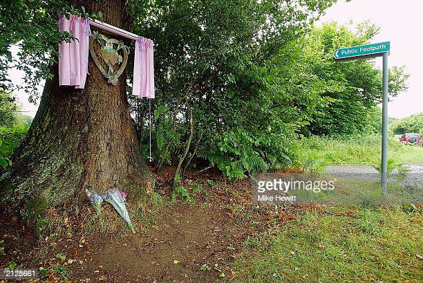 The memorial plaque for Sarah Payne which was unveiled July 1 2003 is seen fixed to a tree in Pulborough England The plaque marks the anniversary of...