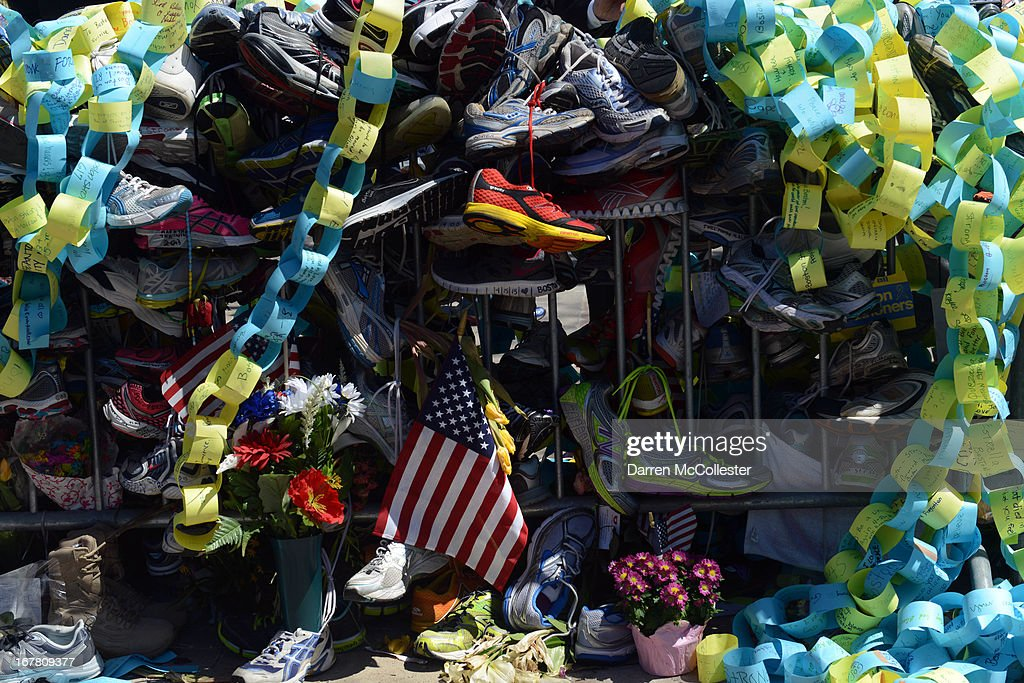 The memorial site in Copley Square to the Boston Marathon bombings is seen on Boylston Street April 30, 2013 in Boston, Massachusetts. Boston continues to return to normalcy with Bolyston Street fully reopened and businesses back up and running following two weeks of closures.
