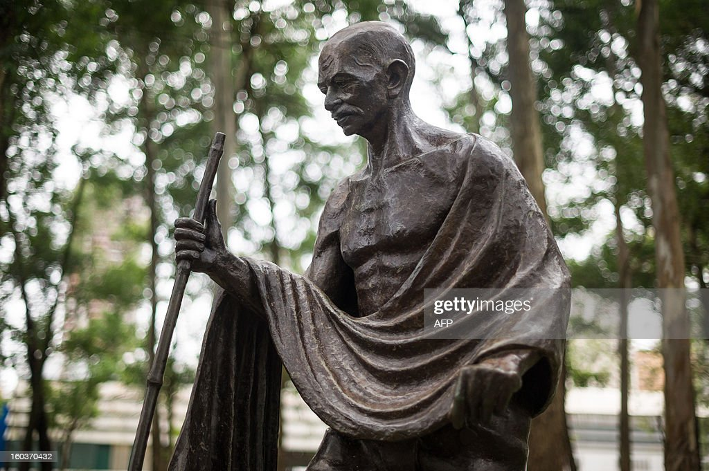The memorial statue of Mahatma Gandhi seen on the 65th anniversary of his death in Sao Paulo, Brazil, on January 30, 2013. The statue was offered by the Indian government in 2002 to commemorate the freedom fighter assasinated on January 30, 1948 in New Delhi. AFP PHOTO/Yasuyoshi CHIBA