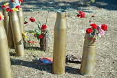 The memory of war, flowers on victory day in place of battle