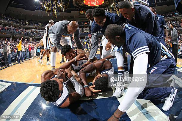 The Memphis Grizzlies celebrate Jeff Green of the Memphis Grizzlies getting the winning shot during the game against the Phoenix Suns on December 6...