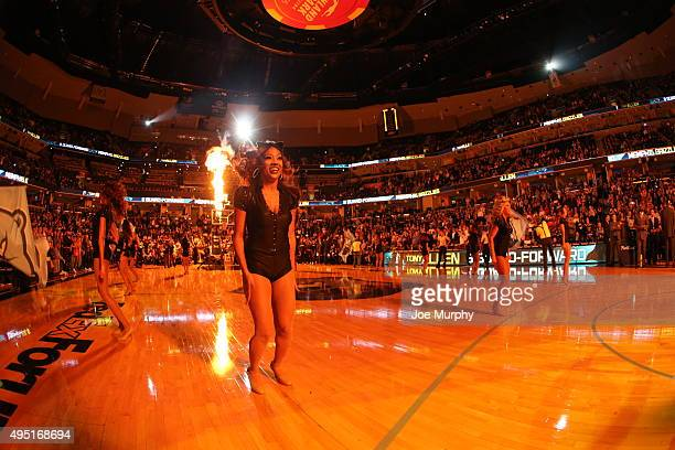 The Memphis Grizzlies dance team performs before the game against the Brooklyn Nets on October 31 2015 at FedExForum in Memphis Tennessee NOTE TO...