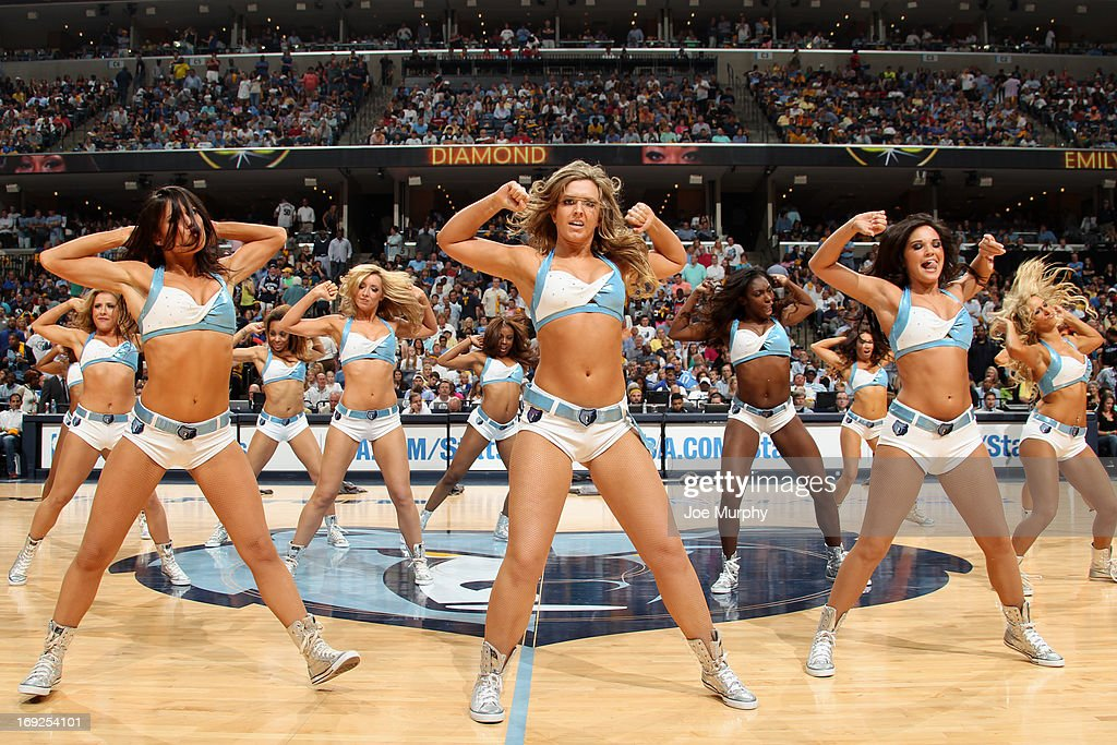 The Memphis Grizzlies dance team performs during halftime of the game against the Oklahoma City Thunder in Game Three of the Western Conference Semifinals during the 2013 NBA Playoffs on May 11, 2013 at FedExForum in Memphis, Tennessee.