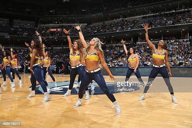 The Memphis Grizzlies dance team performs during the game against the Los Angeles Clippers on November 23 2014 at FedExForum in Memphis Tennessee...