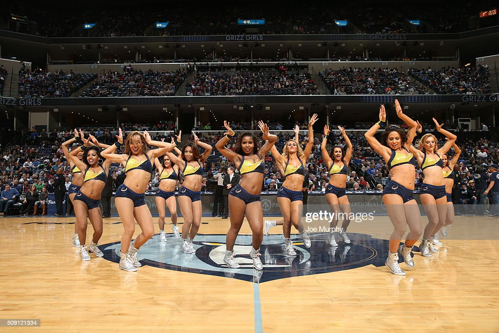 The Memphis Grizzlies dance team performs during the game against the Portland Trail Blazers on February 8, 2016 at FedExForum in Memphis, Tennessee.
