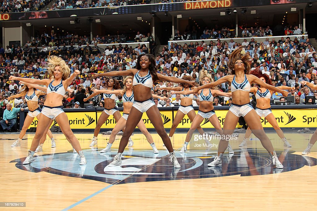 The Memphis Grizzlies dance team performs halftime of the game against the Los Angeles Clippers in Game Three of the Western Conference Quarterfinals during the 2013 NBA Playoffs on April 25, 2013 at FedExForum in Memphis, Tennessee.