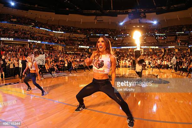 The Memphis Grizzlies dancers perform before the game against the Golden State Warriors on November 11 2015 at FedExForum in Memphis Tennessee NOTE...