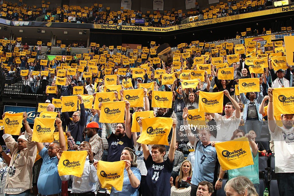 The Memphis Grizzlies fans get into the game against the Los Angeles Clippers in Game Three of the Western Conference Quarterfinals during the 2013 NBA Playoffs on April 25, 2013 at FedExForum in Memphis, Tennessee.