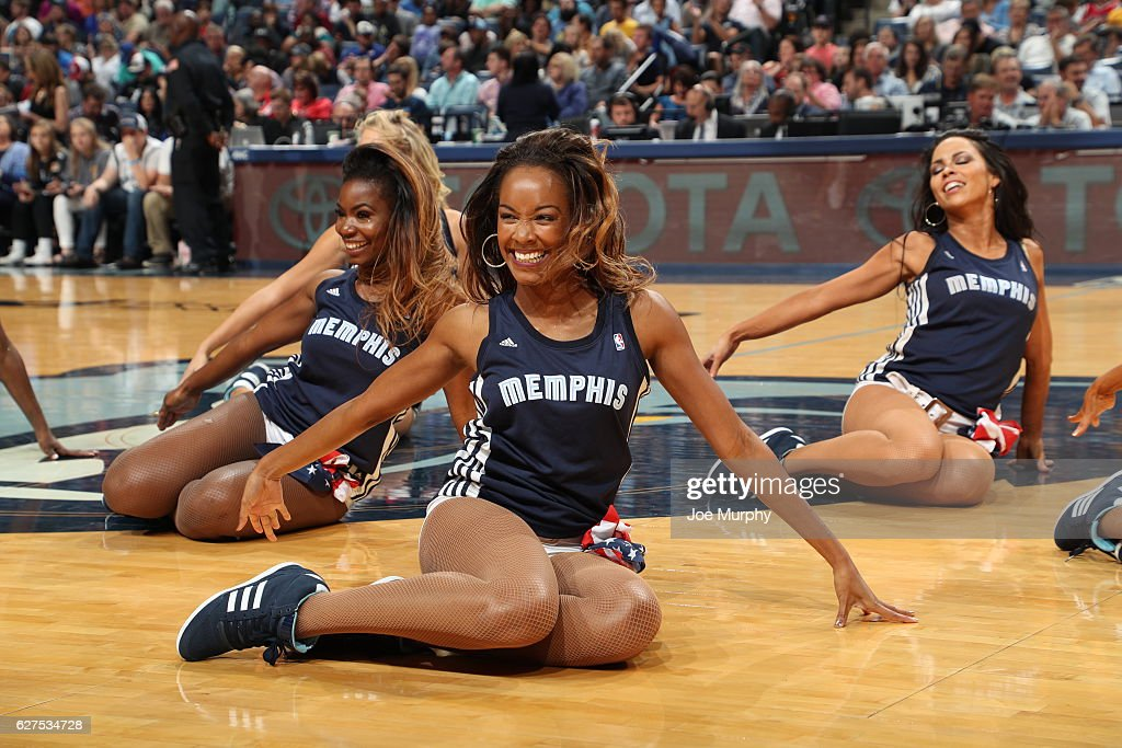 The Memphis Grizzlies Grizz Girls perform their routine during the game against the Portland Trail Blazers on November 6, 2016 at FedExForum in Memphis, Tennessee.