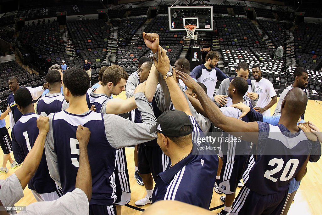 The Memphis Grizzlies huddle after team practice during the Western Conference Finals during the 2013 NBA Playoffs on May 20, 2013 at the AT&T Center in San Antonio, Texas.