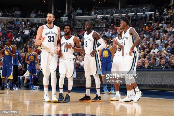 The Memphis Grizzlies looks on during the game against the Golden State Warriors on October 21 2017 at FedExForum in Memphis Tennessee NOTE TO USER...