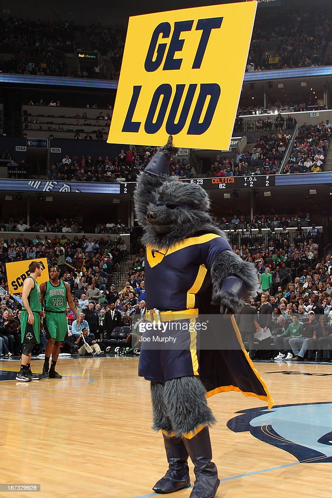 The Memphis Grizzlies mascot gets the crowd into the game against the Boston Celtics on March 23, 2013 at FedExForum in Memphis, Tennessee.