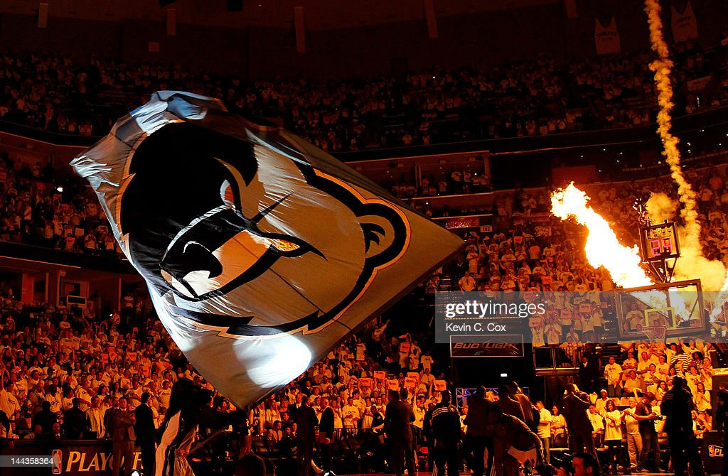 The Memphis Grizzlies mascot waves a giant flag prior to Game Seven of the Western Conference Quarterfinals in the 2012 NBA Playoffs between the Memphis Grizzlies and the Los Angeles Clippers at FedExForum on May 13, 2012 in Memphis, Tennessee.