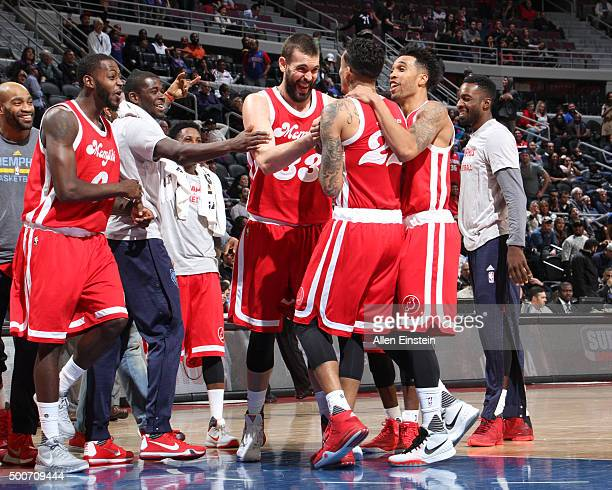 The Memphis Grizzlies react after a play against the Detroit Pistons during the game on December 9 2015 at The Palace of Auburn Hills in Auburn Hills...