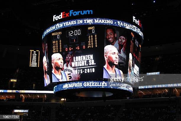 The Memphis Grizzlies remember former player Lorenzen Wright through a moment of silence before their opening night game against the Atlanta Hawks...
