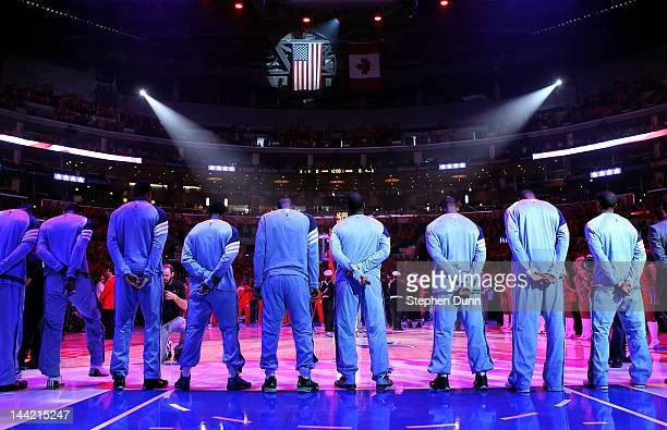 The Memphis Grizzlies stand during the national anthem before the Grizzlies take on the Los Angeles Clippers in Game Six of the Western Conference...