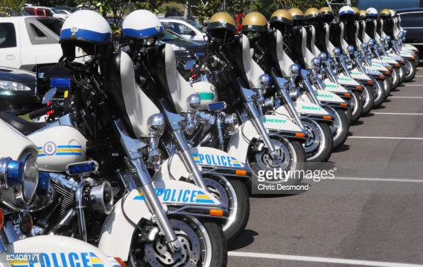 The Memphis Police and Shelby County Sheriffs departments motorcycles are parked during the celebration of the life of entertainment icon Isaac Hayes...
