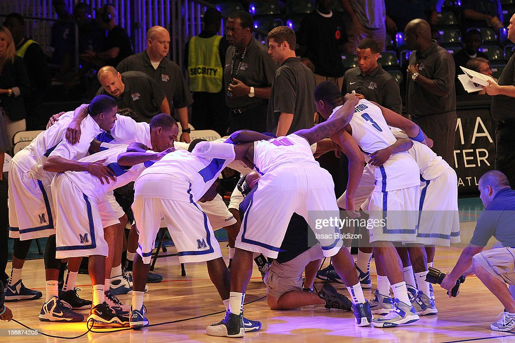 The Memphis Tigers huddle together before the game against the Minnesota Gophers during the Battle 4 Atlantis tournament at Atlantis Resort November 23, 2012 in Nassau, Paradise Island, Bahamas.