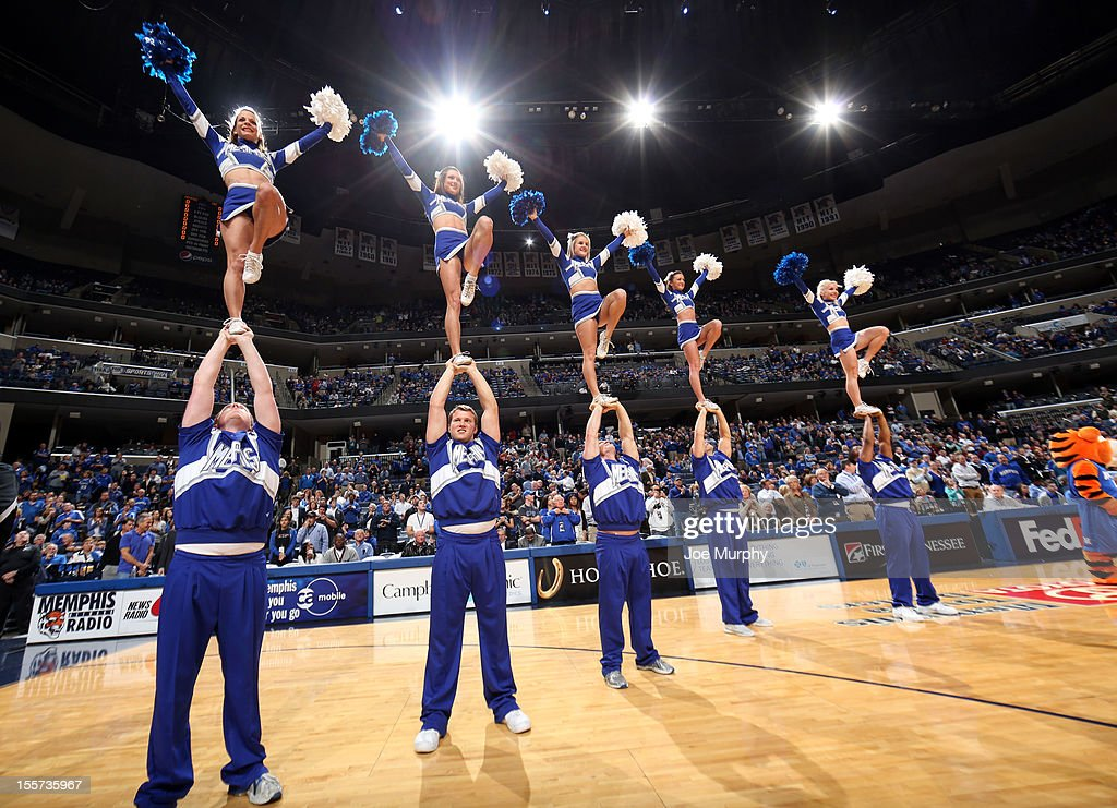 The Memphis Tigers pom squad performs during a game against the CBU Buccaneers on November 7, 2012 at FedExForum in Memphis, Tennessee.
