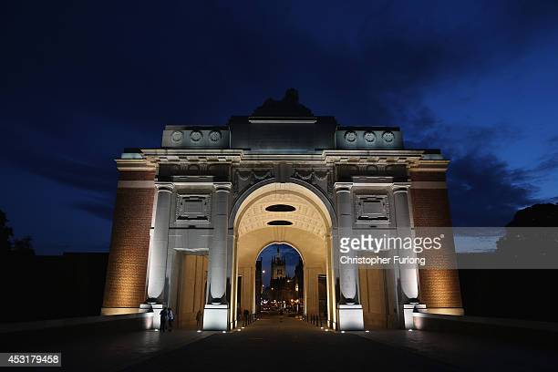 The Menin Gate Memorial to the Missing is illuminated before a symbolic 'lights Out' hour marking the outbreak of World War One on August 4 2014 in...