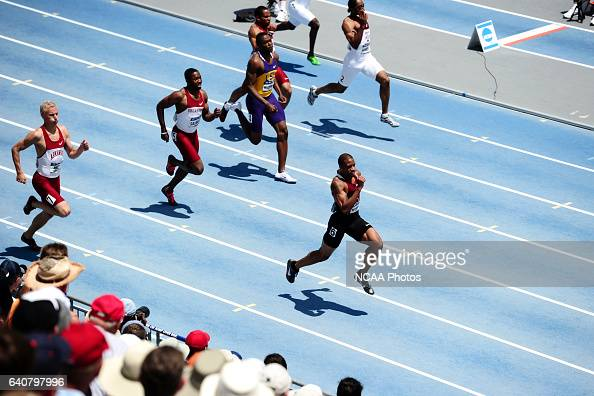 The men's 200 meter dash during the Division I Men's and Women's Outdoor Track and Field Championship held at the Drake Stadium on the Drake...