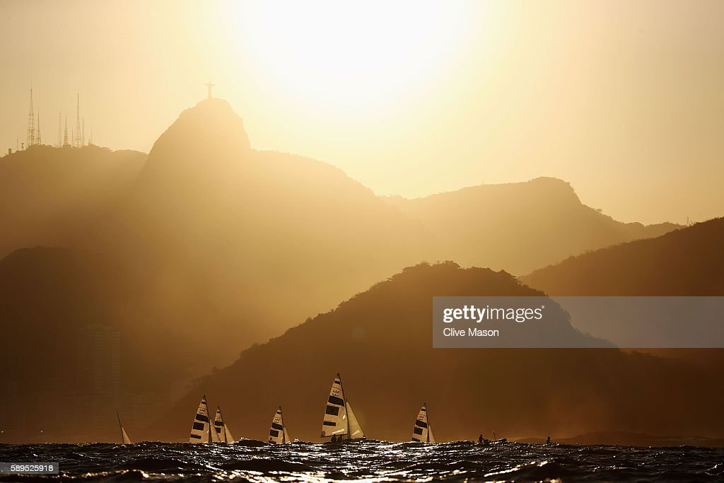 The Men's 470 class sail back to shore after competing on Day 9 of the Rio 2016 Olympic Games at the Marina da Gloria on August 14, 2016 in Rio de Janeiro, Brazil.