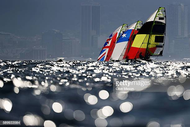 The Men's 49er class competes on Day 10 of the Rio 2016 Olympic Games at the Marina da Gloria on August 15 2016 in Rio de Janeiro Brazil