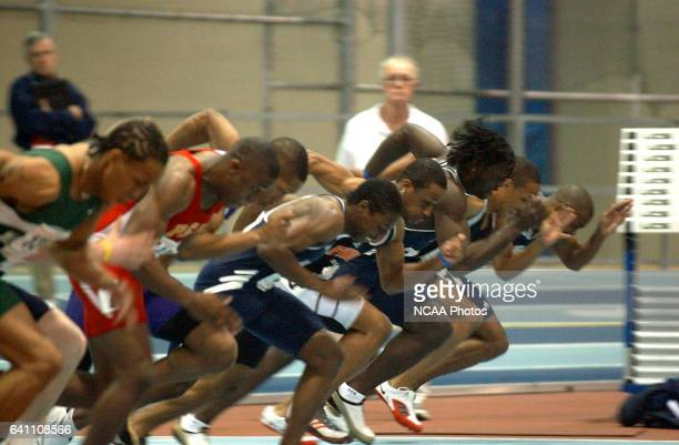 12 MAR 2005 The Men's 60 meter dash gets off to a fast start during the Division II Indoor Track and Field Championship held at Reggie Lewis Field...
