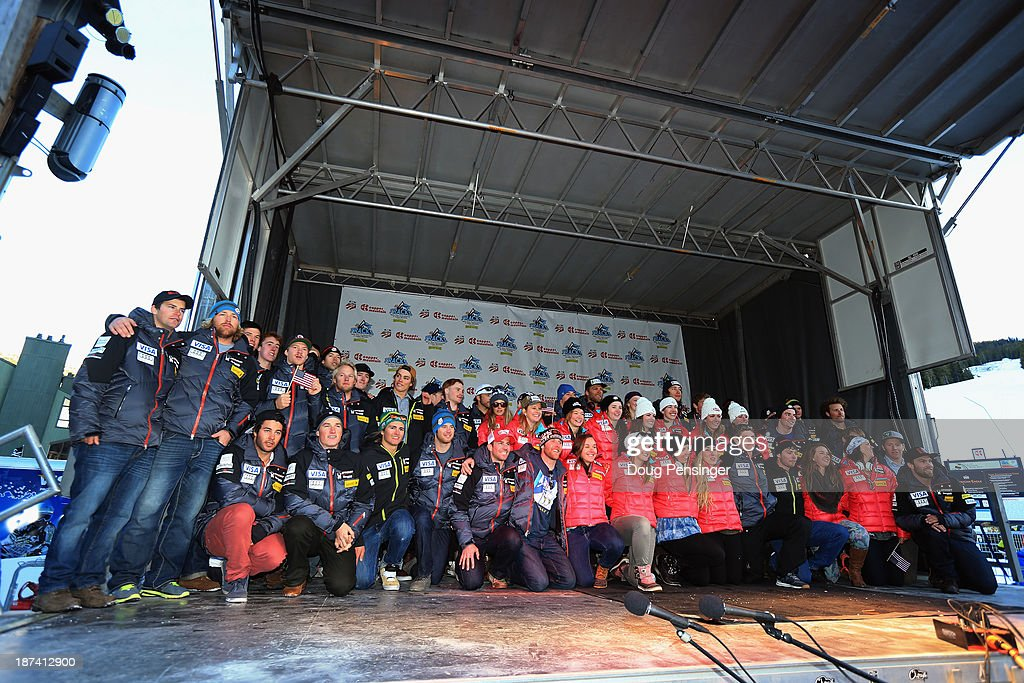The mens and ladies teams take the stage during the U.S. Alpine Ski Team Announcement and pep rally at Copper Mountain on November 8, 2013 in Copper Mountain, Colorado.