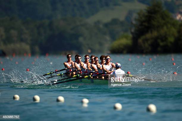 The men's eight from Great Britian compete during the World Rowing Cup II on Saturday 21 June 2014 Aiguebelette France