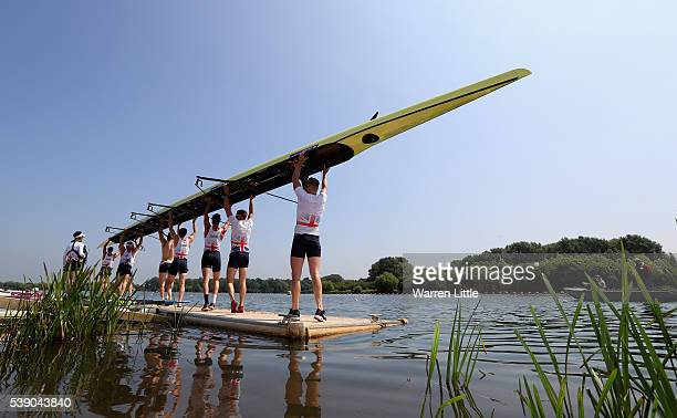 The Men's Eight Great Britain team leaves the water after training ahead of an announcement of Rowing athletes named in Team GB for the Rio 2016...