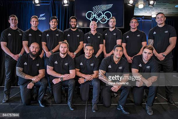 The men's rugby sevens team popse for a photograph during the New Zealand Olympic Games Rugby Sevens Team Announcement at Eden Park on July 3 2016 in...