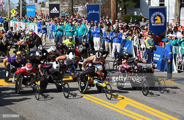 The Men's Wheelchair division starts the 120th Boston Marathon on April 18 2016 in Hopkinton Massachusetts