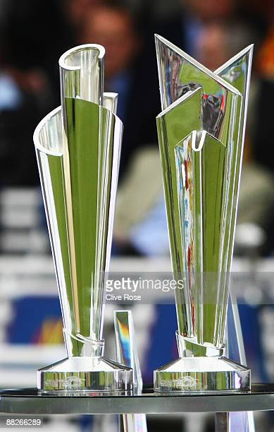 The Men's World Twenty20 trophy is pictured with the Women's trophy ahead of the the ICC World Twenty20 Group B match between England and the...